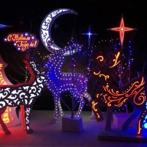 Новогодняя фотозона «Рождественская композиция с оленями»