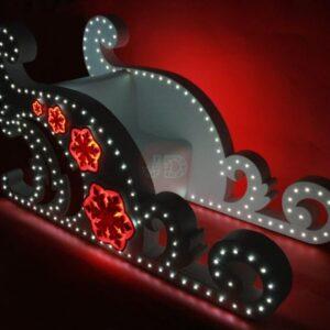 Новогодние светящиеся «Сани Снегурочки» модель 1